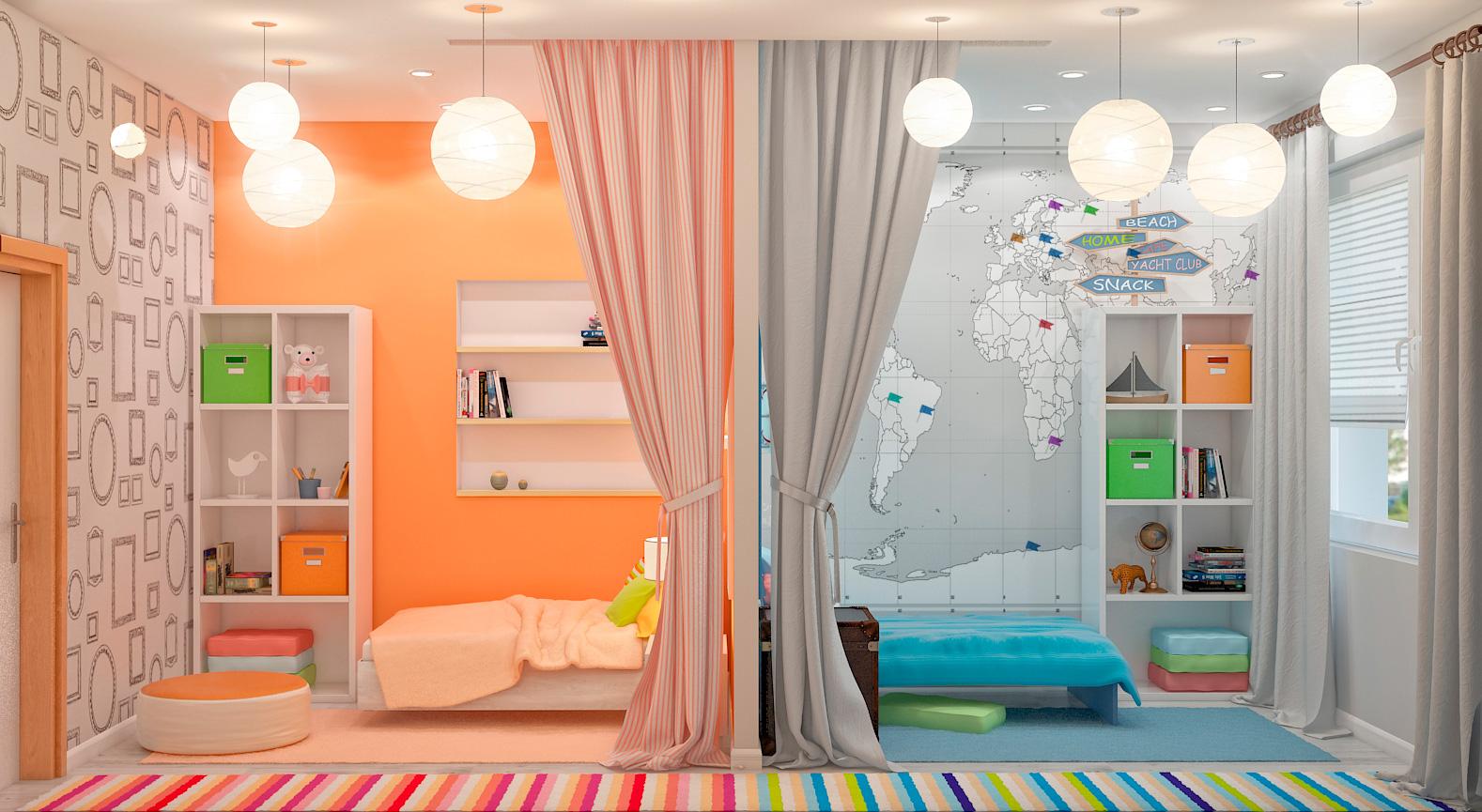 Фото дизайн детской комнаты для мальчика и девочки