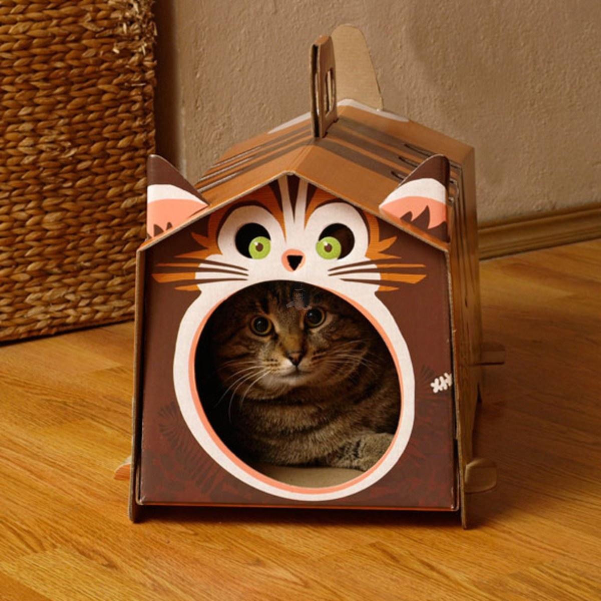 Как сделать домик из картона своими руками для кота