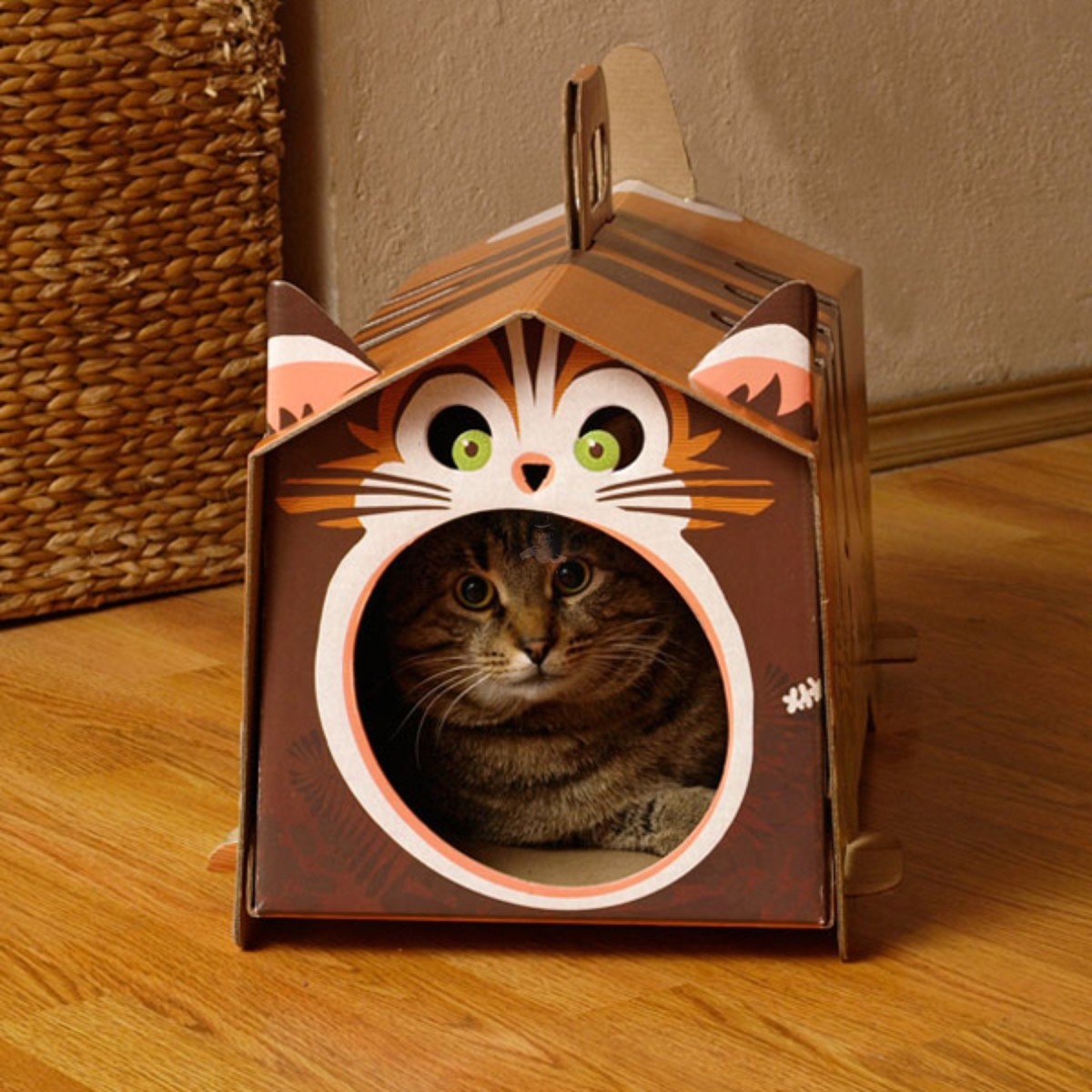 Домик котенку из картонных коробок