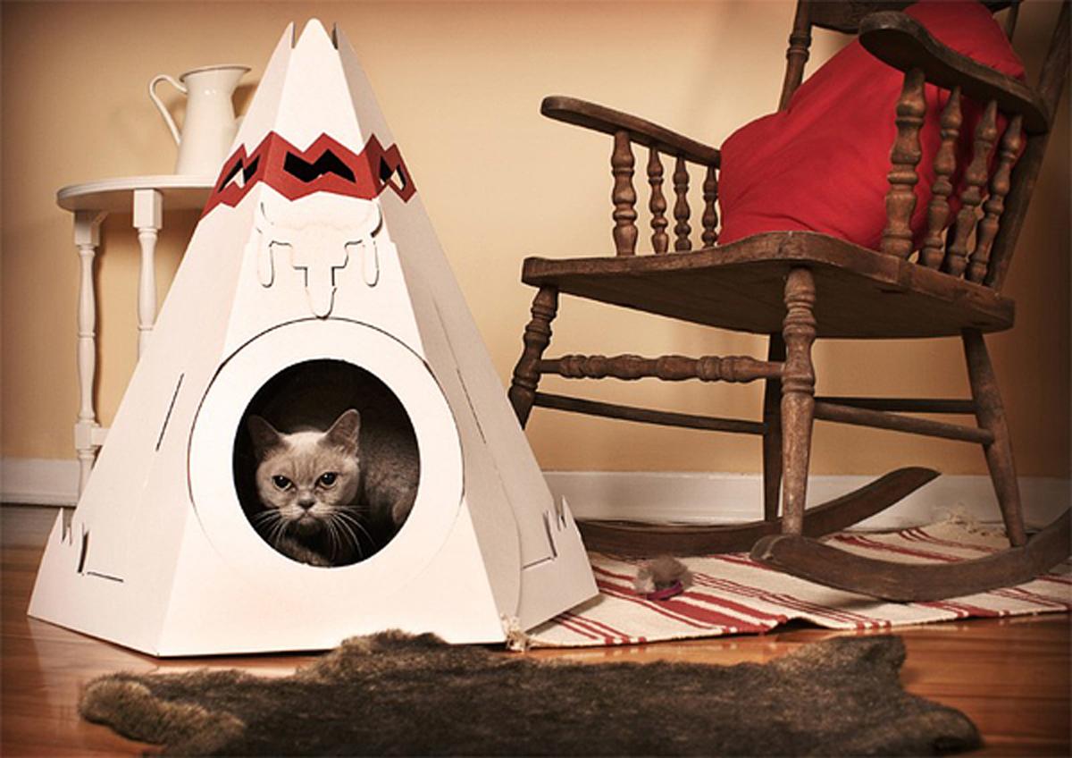Как сделать домик для кошек своими руками из бумаги