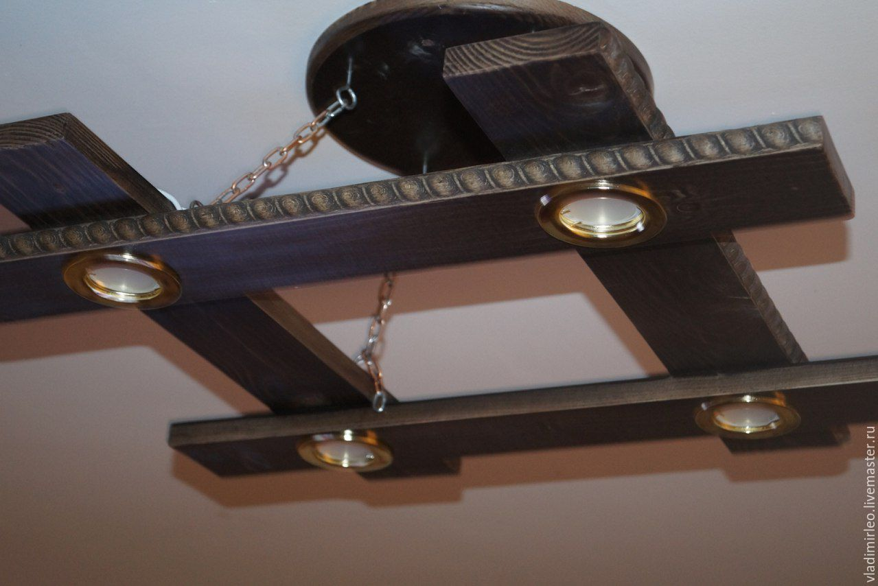 Деревянный светильник на кухню своими руками 11