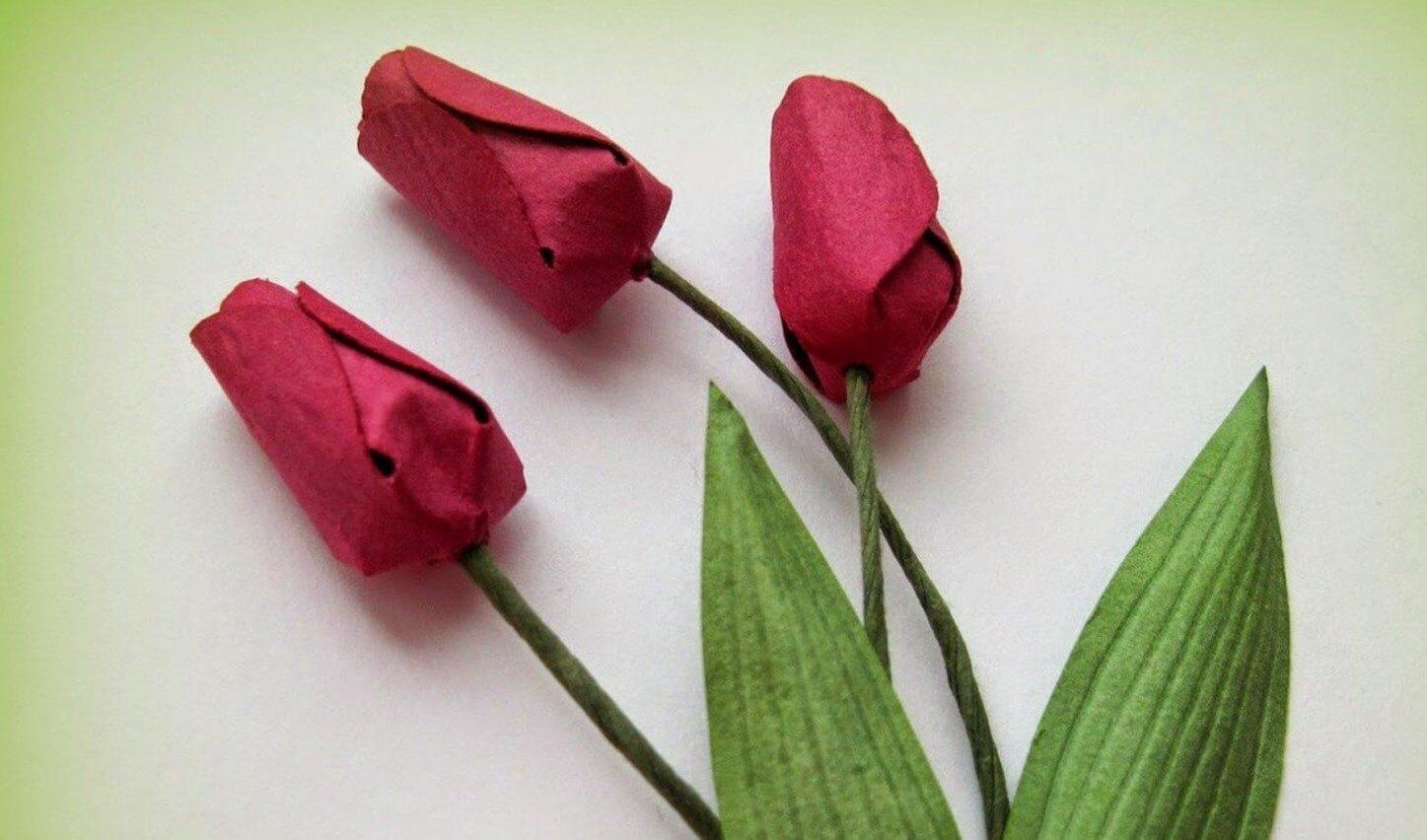 Тюльпан из бумаги фото пошагово в