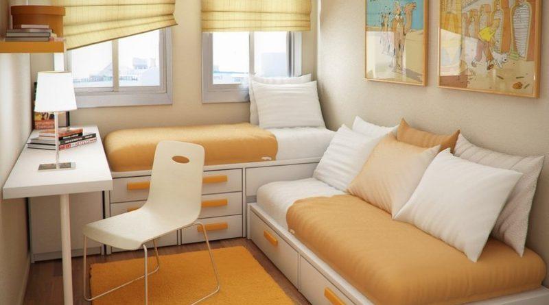 Перпендикулярное расположение кроватейПерпендикулярное расположение кроватей