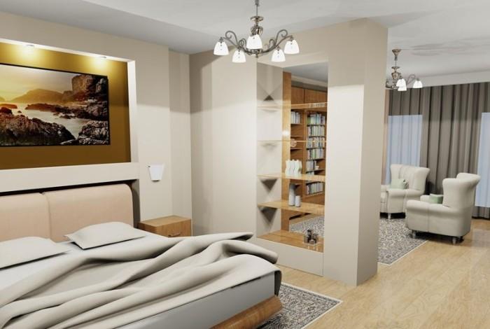 Сквозная перегородка между спальней и столовой