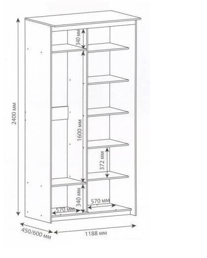Стандартная конструкция мебели на балкон