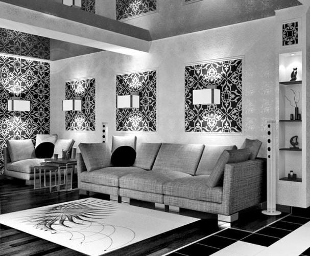 Контрастный черно-белый интерьер