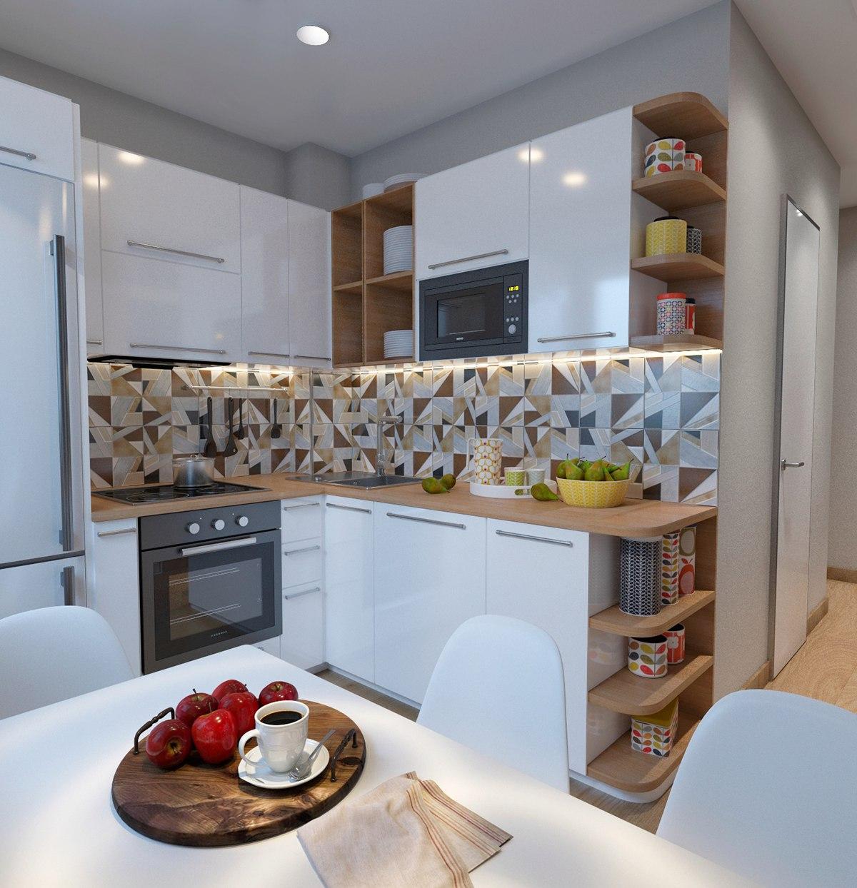 дизайн низкой кухни фото стен, сложенных