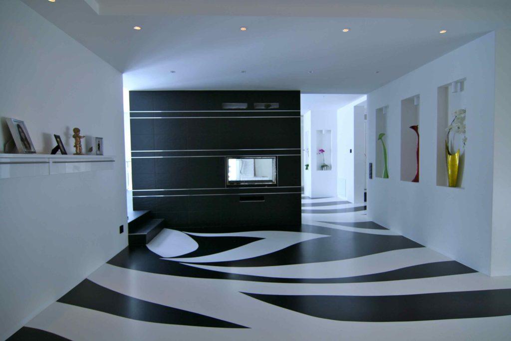 Декоративный черно-белый пол