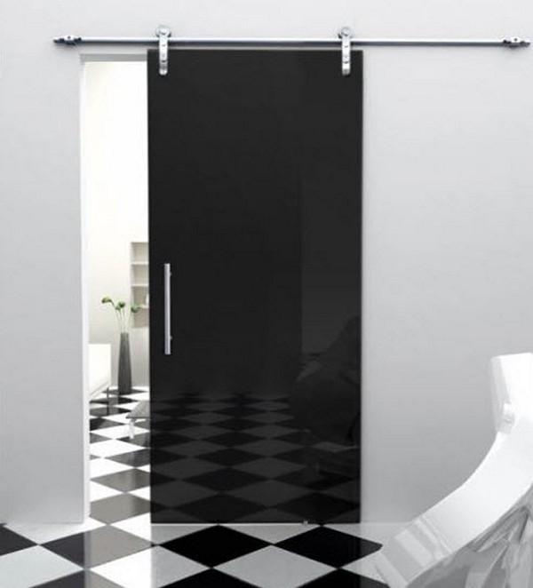 Дверь из черного стекла