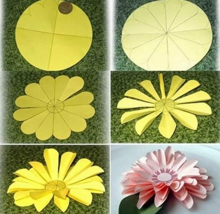 Прикольные, как сделать цветочки из бумаги на открытку