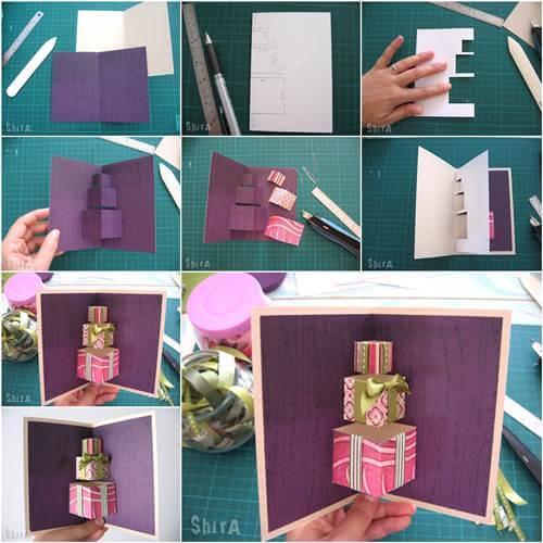 How-to-DIY-3D-Gift-Box-Pop-up-Card Сделать своими руками открытку