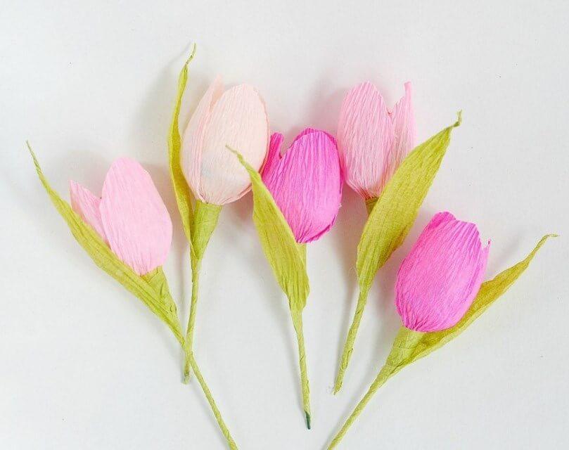 Цветы из гофрированной бумаги для открытки мастер-класс