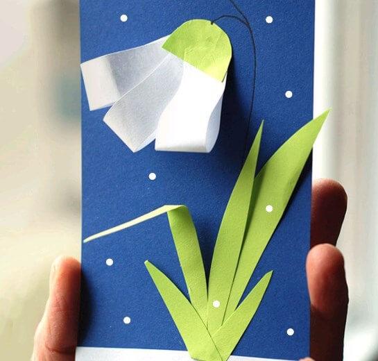 Как сделать открытку на тему весна, днем марта