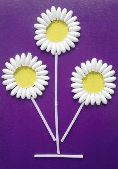 podelky_iz_vaty51 Поделки из ватных дисков для детей, цветы из бумаги, ватных палочек и дисков своими руками пошагово