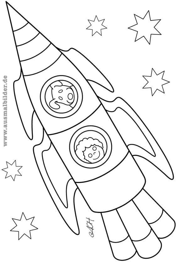 Детские рисунки космонавтов и ракет