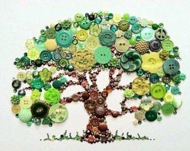 Как сделать дерево из пуговиц фото 124
