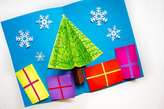 Открытка елочка своими руками из бумаги для детей, для поздравления папы