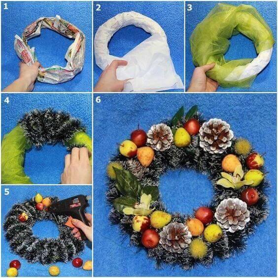 Как сделать рождественский венок своими руками пошагово
