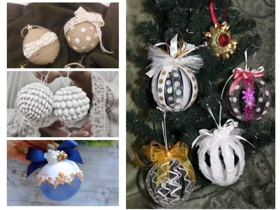 Новогодние елочные шары своими руками, много мастер-классов из подручных материалов