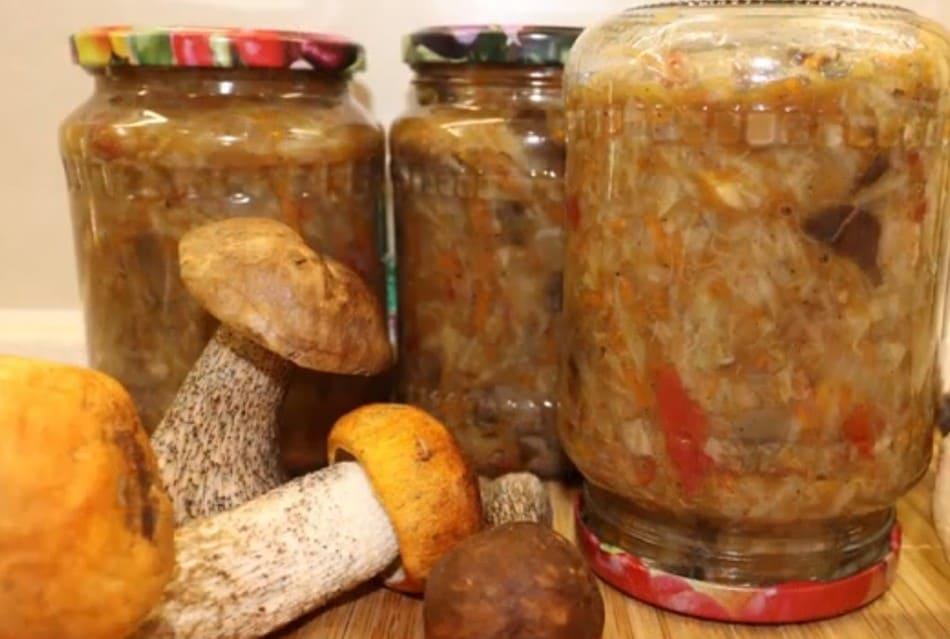 Капуста с грибами на зиму в банках – очень вкусные рецепты